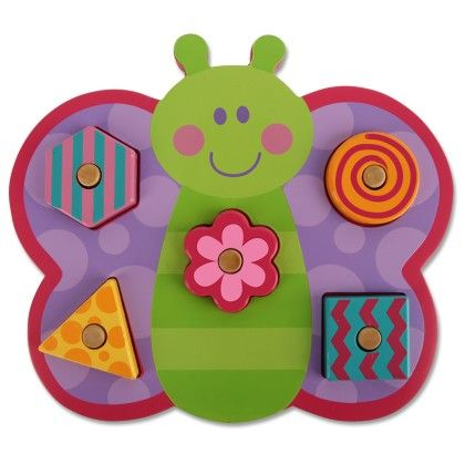 Shaped Wooden Peg Puzzle Butterfly - Stephen Joseph