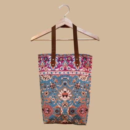 Hand Block Printed Canvas Bag - Teal - ToteM