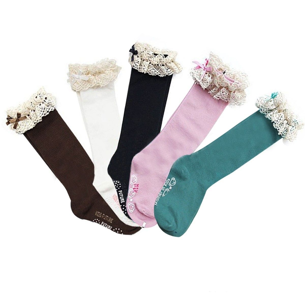 set of 2 Wrapables Lace Ruffles and Bow Knee High Girl Socks