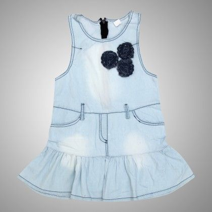 Denim Dress With Incut Sleeves With Bow On Right - Step-Up Collection
