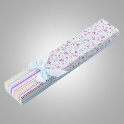 Pink & Purple Flowers With Blue Ribbon Gift Boxes - Set Of 4