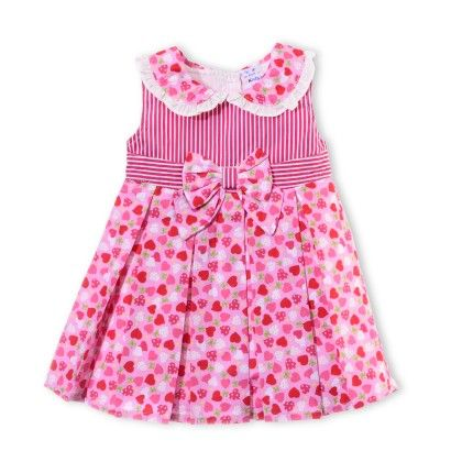 Printed Sleeveless Dress With Collar & Bow On Front + White Bloomer - Just For Kids - 66901