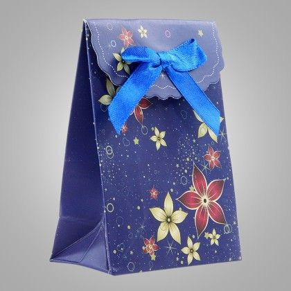 Navy Floral Design Paper Gift Bag With Flap- Set Of 6 - Ribbon