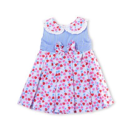 Printed Sleeveless Dress With Collar & Bow On Front + White Bloomer - Just For Kids