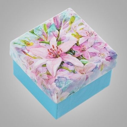 Light Lilac Flower Print Green Paper Gifts Box - Set Of 6 - Ribbon