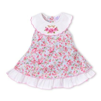 Girls Sleeveless Florral Dress With Scarf Neck Collar With Rose Embroidery  Blue - Just For Kids