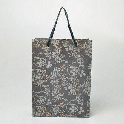Grey Vintage Print Brown Paper Gift Bags - Set Of  6 - Ribbon