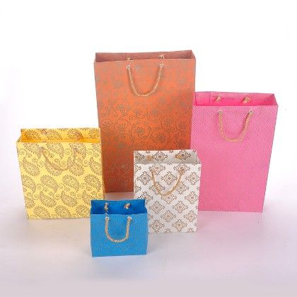 Set Of 5 Handmade Bags With Gold Print - The Gift Bag