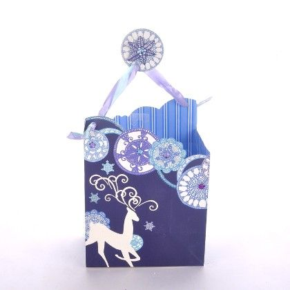 Blue Purple Giltter & Crystal Reindeer With Gift Tag - The Gift Bag