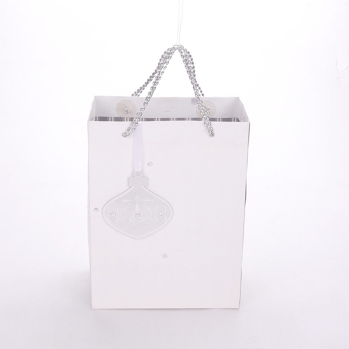 White Snow Flake With Silver Bead Handle With Gift Tag - The Gift Bag