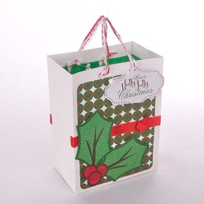 White Red Green Xmas Bag With Red Bow - The Gift Bag