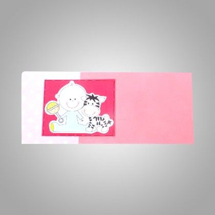 Peach Pink Baby With Cat 3d Pack Of 2 - The Gift Bag
