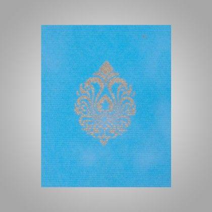 Pocket Envelopes Gold Damask - Blue Pack Of 10 - The Gift Bag