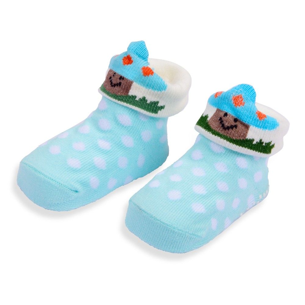 Hopscotch Wonder Kids Wonderkids Cyan Baby Grip Socks