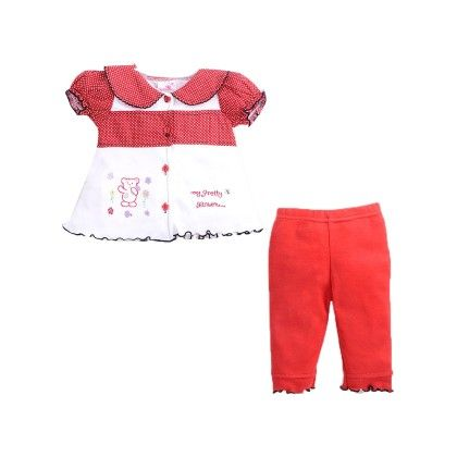 Girls Top Legging Set With Bear Embroidery Red - Pierre L'amour