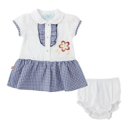 White And Blue Checks Dress With Underpants - WWW
