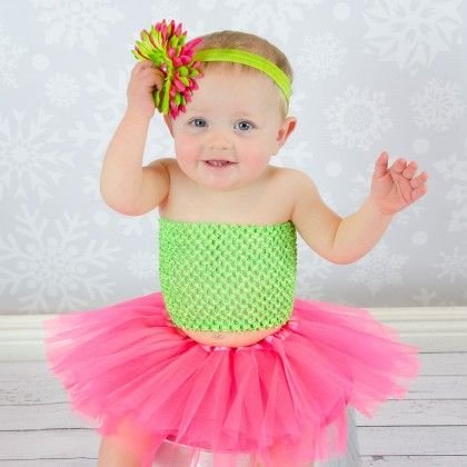 Neon Pink Tutu, Lime Green Crochet Top, Satin Headband With 4 - Dress Up Dreams