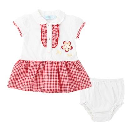 White And Red Checks Dress With Underpants - WWW