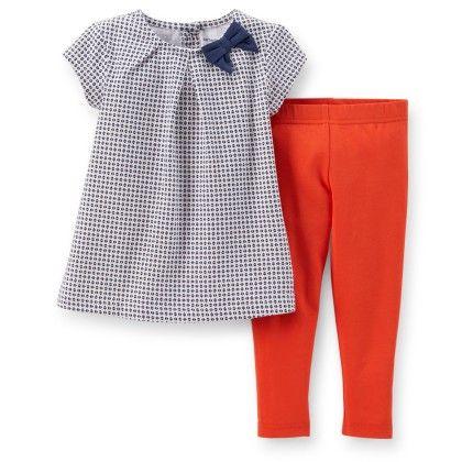 Black & Orange 2-piece Jersey Top & Legging Set - Carter's