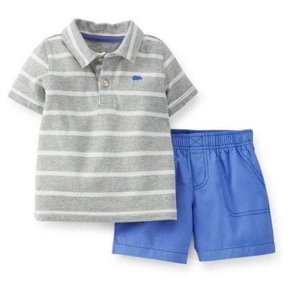 Grey & Blue 2-piece Jersey Top & Poplin Shorts Set - Carter's