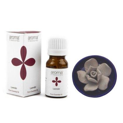Lotus Diffuser With Lavender Essential Oil - Aroma Treasures