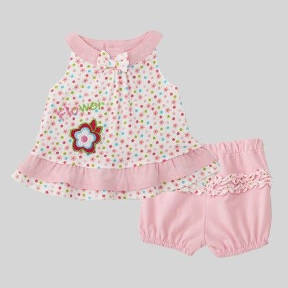 Flower With Polka Dot Dress Set - Pink - Honey Dew