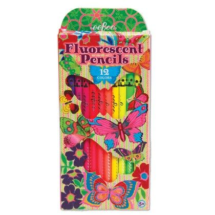 Butterfly 12 Color Fluorescent Pencil - EeBoo