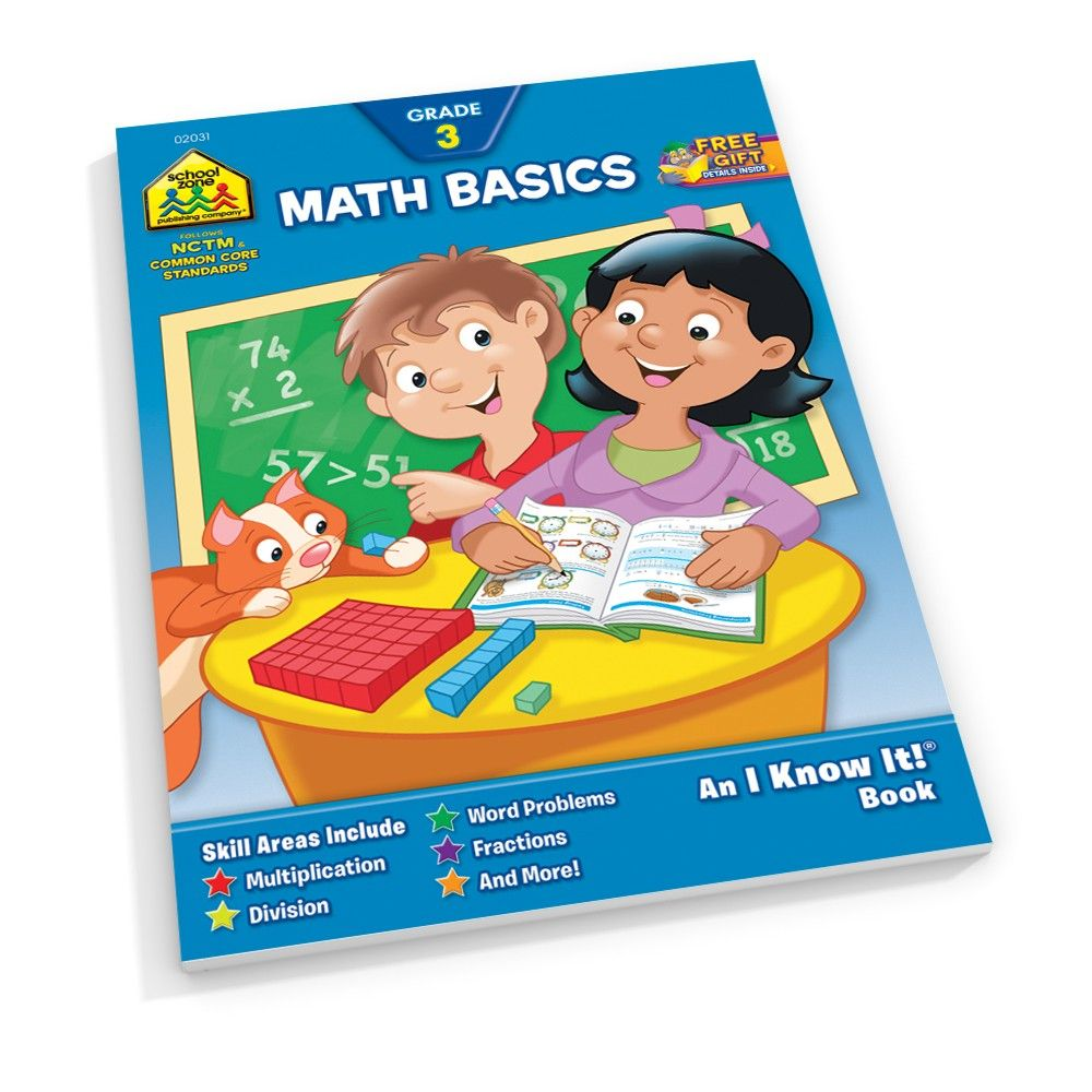 and More Skip Counting School Zone Word Problems Rounding Multiplication Place Value Ages 8 to 9 Fact Families Math Basics 3 Deluxe Edition Workbook Division