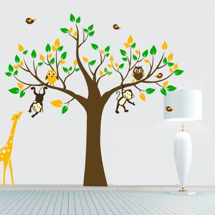 Uberlyfe Green And Yellow Tree Wall Sticker