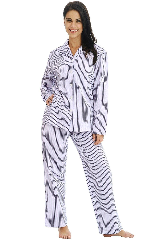 Hopscotch - Alexander Del Rossa - Del Rossa Women s 100% Cotton Long Sleeve  Pj Set with Pajama Pants - Purple Striped 50a2e492e