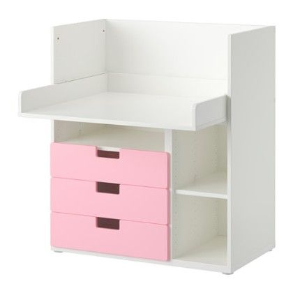 Desk With 3 Drawers- White & Pink - Home Essentials