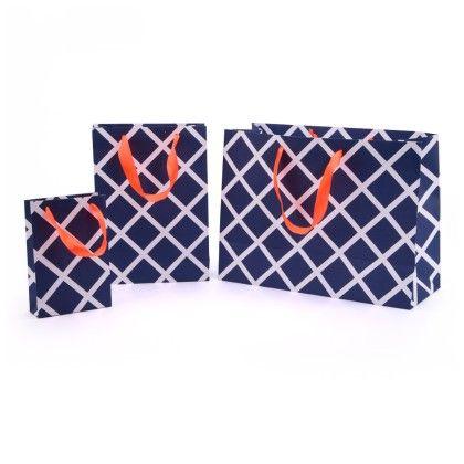 Navy Lattice Gift Bag- Set Of 3 - Magnolia Design