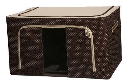 Foldable Cloth Storage Box With Steel Frames - Saree Covers_brown Dotted - Large - Uberlyfe