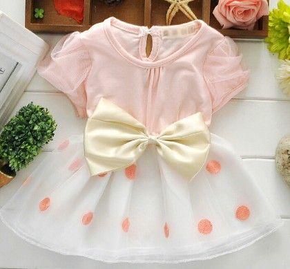 Light Peach Polka Dot Dress With Big Bow - Peach Girl