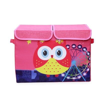 Pink Double Flap Kids Storage Box With Red Owl And Ferris Wheel - Double Flap - Large - Uberlyfe