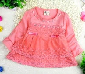 Pink Pretty Lace Dress With Small Bow - Peach Girl