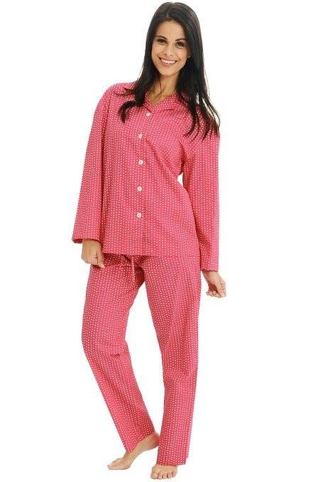 Hopscotch - Alexander Del Rossa - Del Rossa Women s 100% Cotton Long Sleeve  Pj Set with Pajama Pants - White Squares on Pink d24ad01d0