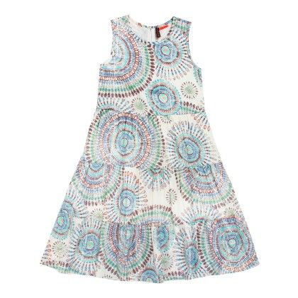All Over Print Layered Dress Sleeveless - Red - SUPER YOUNG