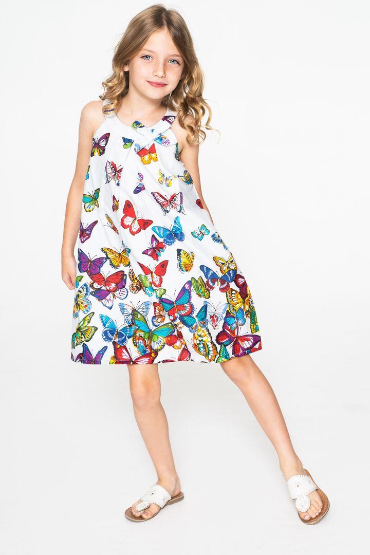 4ca4c7201639c Hopscotch - Yo Baby - White & Red Butterfly Yoke Dress - Toddler & Girls