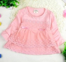 Baby Pink Pretty Lace Dress With Small Bow - Peach Girl