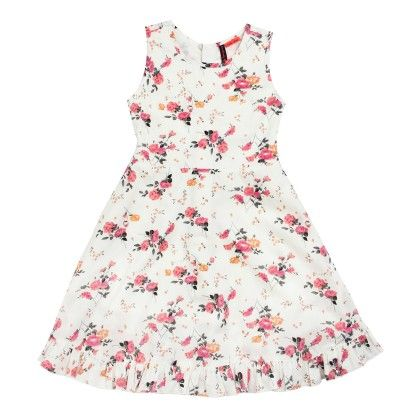All Over Print Floral Dress Sleeveless - White - SUPER YOUNG