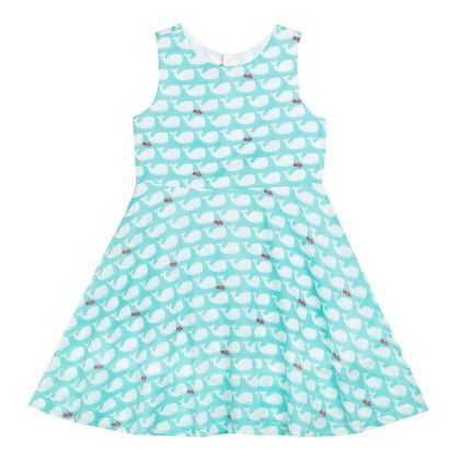 All Over Print Whale Dress Sleeveless Green - SUPER YOUNG