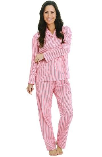 16e362d4f941 Hopscotch - Alexander Del Rossa - Del Rossa Women s 100% Cotton Long Sleeve  Pj Set with Pajama Pants - Pink Striped