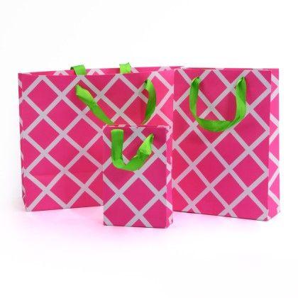 Pink Lattice Gift Bag- Set Of 3 - Magnolia Design