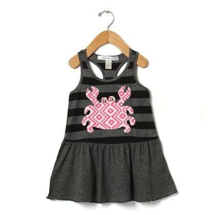 Appliqué Crab Stripe Tank Dress - Mini Scraps & Little Bits