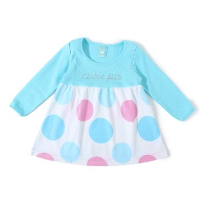 Cutie Pie With Big Dot Printed Dress - Light Blue - Naturelle