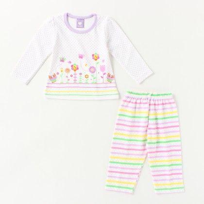 All Over Printed Girl's Pyjama Set -purple - Naturelle