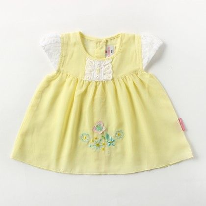 Cap Sleeve Voiyel  Dress With  Lace And Flower Applique Emb - Lemon - Chocopie