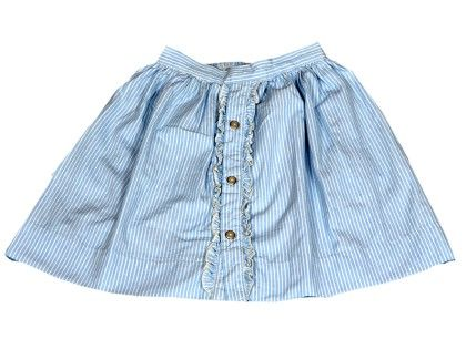 Yarn Died Light Blue And White Party Skirt - Anasai