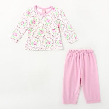 All Over Flower Printed Girl's Pyjama Set -pink - Naturelle